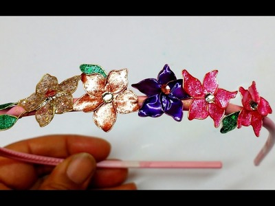 Diy How to Make Hairband with Nail polish flowers
