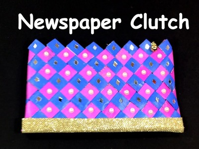 DIY - How to make Newspaper Purse. Clutch. Wallet? Recycled Newspaper Craft. Best out of Waste.