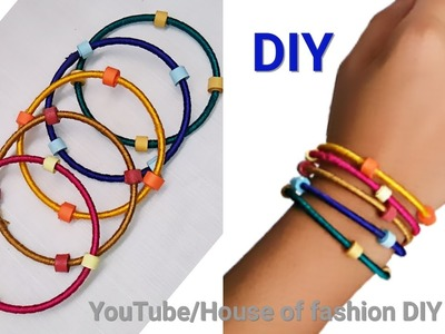 DIY Ideas|How To Make Silk Thread Bangles Using Paper Beads||Multi Colour Silk Thread Bangles