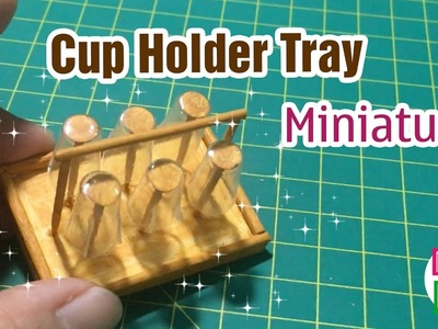 DIY Miniature Cup Holder Tray | How to make a Tray Shelf Bracket Upside Down Cup Holder | Dollhouse