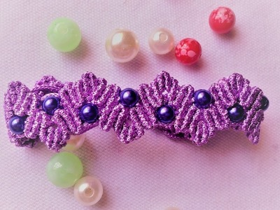 DYI Macrame Tutorial - Purple crown shape bracelet - how to make a pretty  gift for your friend