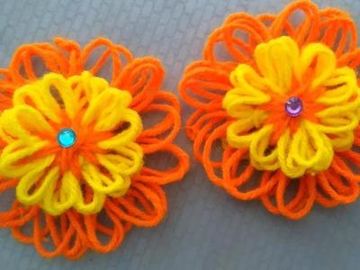 Flower loom knitting | 3 layer woolen loom flower