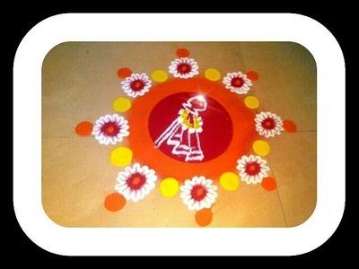 Gudi Padwa Special Rangoli.How to make rangoli design