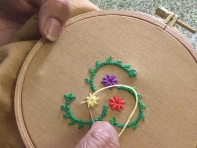 Hand Embroidery easy stitch how to make Ribbed spider web stitch