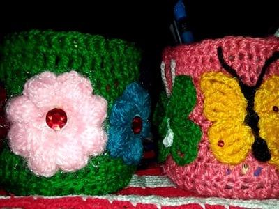 How to Crochet Pen and Pencil Holder? Handmade Woolen Crafts