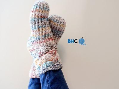 How to Crochet Slipper Socks Left Handed