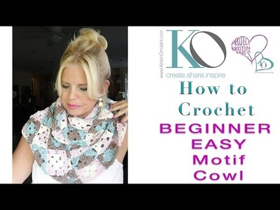 How to Crochet Tender Vickie Motif Cowl Join As You Go Squares Seamless 4 Colors
