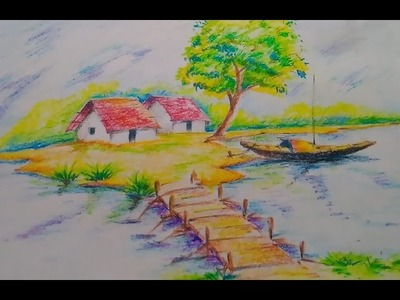 How to draw a beautiful scenery for kids.Easy drawing tutorial