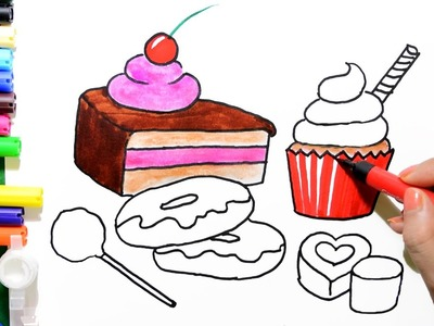 How to Draw Color Paint Chocolate, Cupcake, Pastry, Donuts Coloring Pages and Learn to Color