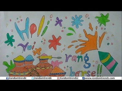 How to draw happy holi poster, holi card for kids