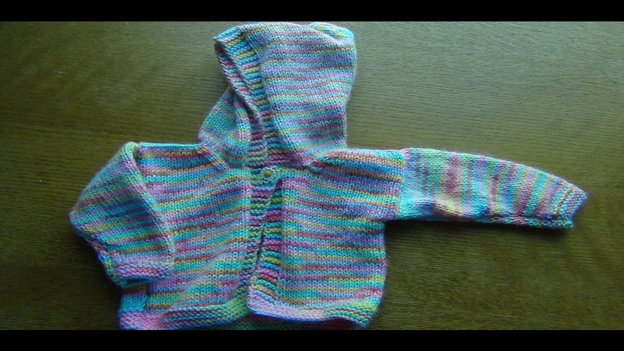 How to Knit a Baby  Jacket with a Hoodie Part 2