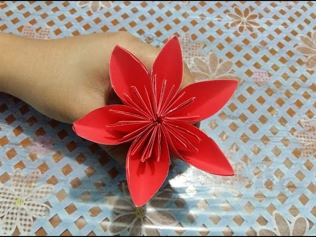 How to make 3D origami Flower paper crafts - Tutorial