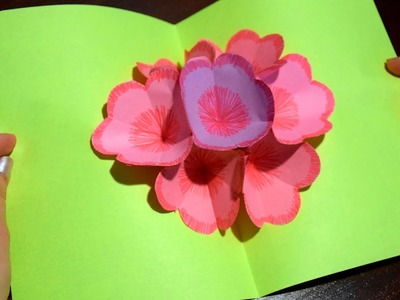 How to make 3D postcard with flowers of paper easy and simple gift