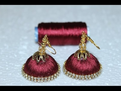 How to make a bridal jumka at home.Simple and Beautiful Silk thread earrings