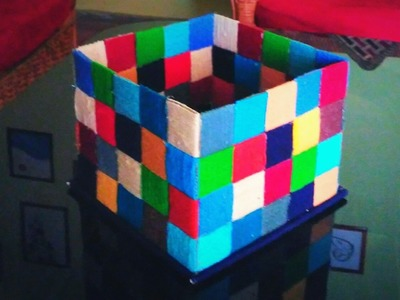 How to make a colourful woollen storage box (also using cardboard)