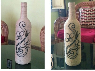 How to make a decorated wine bottle using rope (jute)