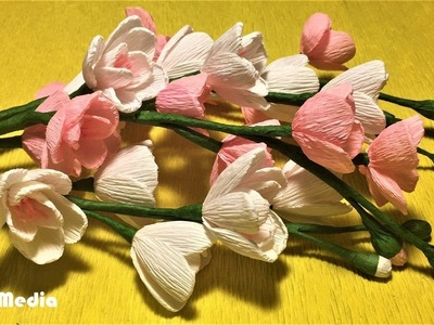 How to make an easy cherry blossom paper flower step by step.diy origami crepe paper flower tutorial