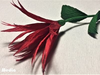 How to make an easy origami red paper flower.diy crepe paper flower tutorials.craft paper flower