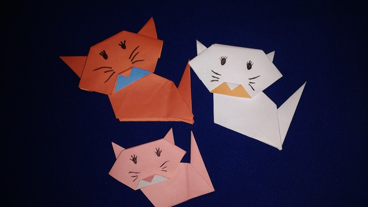 how to make an origami cat face step by step easy