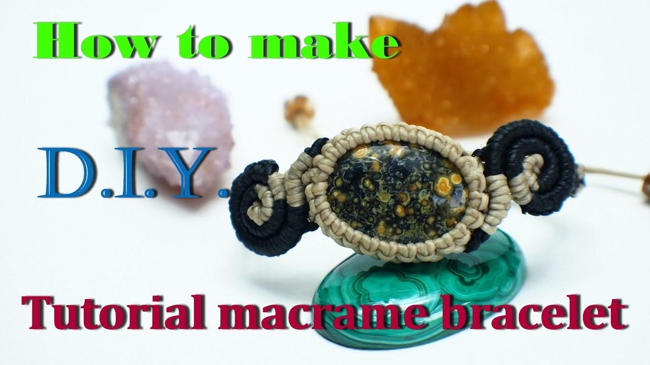 How to make bracelet macrame knot ocean jasper stone