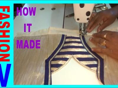 How to make Designer  Blouse at Home-42||Designer Bridal Back Neck Blouse Pattern - 2017||stitching