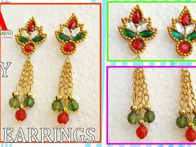 How to Make Designer Earrings at home   silk thread earrings in 2 easy steps