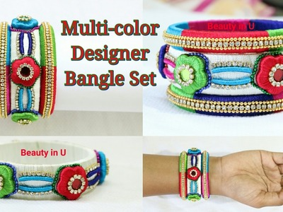 How to make Designer Silk Thread Bangle Set with Flower Shaped base & Baby Tubes at Home