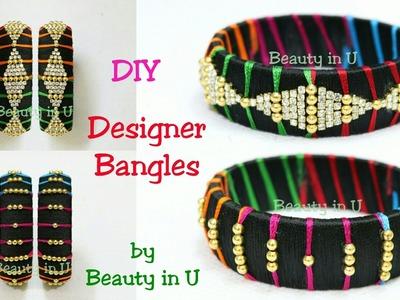 How to make Designer Silk Thread Bangles at Home   Tutorial