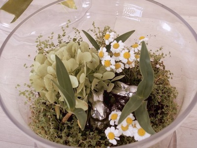 How to Make Easter-Themed Terrarium with Silver Bunny Rabbits
