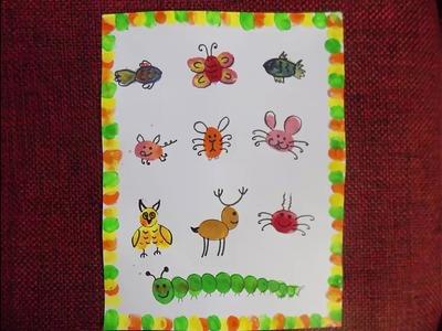 How to make easy thumb painting.finger print art for kids