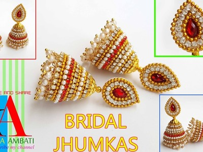 How to make Imitation Silk Thread Jhumkas with red stone chain and loreals