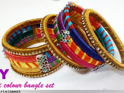 How to Make MULTI COLOUR SILK THREAD BANGLES from Glass bangles|Omni_trends