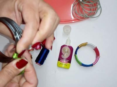 How to make multicoloured silk Thread bangles