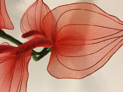 How to make nylon stocking flowers - Anthurium