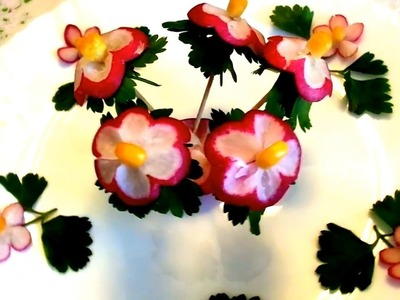 HOW TO MAKE RADISH FLOWER GARNISH  - ART IN RADISH & VEGETABLE CARVING - HOW TO CUT RADISH DESIGN