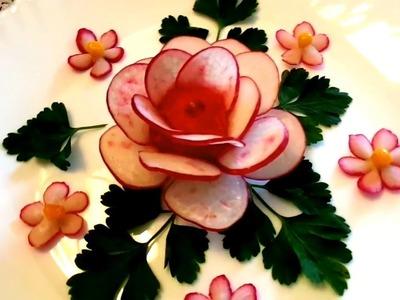 HOW TO MAKE RADISH ROSE FLOWER - VEGETABLE CARVING & HOW TO CUT RADISH - ART IN RADISH