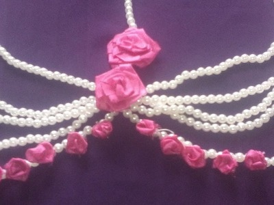 How to make ribbon rose ornaments.beaded headpiece
