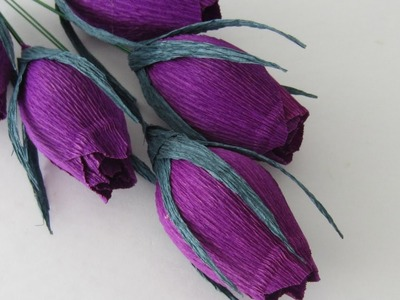 HOW TO MAKE ROSE BUDS USING CREPE PAPER