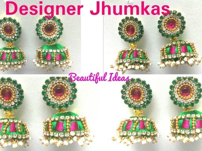 How to make Silk thread Designer Jhumkas.Earrings at Home. DIY.Designer Pearls Jhumkas  Making .