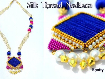 How to make Silk Thread Long Necklace with Crocheted Pendant at Home | Tutorial