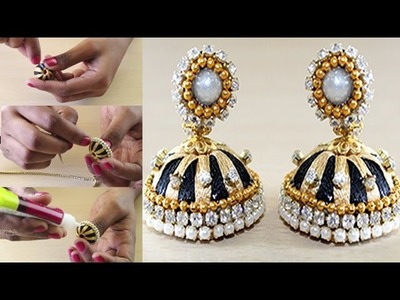 How to make Simple and Beautiful Silk thread Jhumkas || Homemade Silk Thread Jhumkas