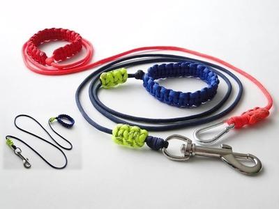 How to Make the Simplest Paracord Dog Leash-Adjustable Handle.Bracelet-Sliding Reflective Markers.