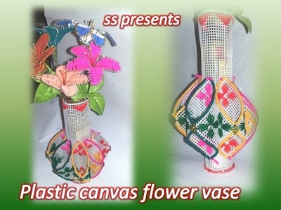 How to make vase use with plastic canvas. Plastic canvas and crochet flower vase. yarn flower vase