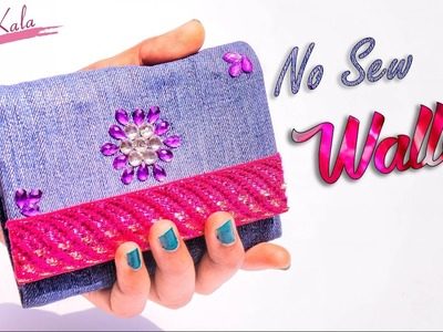 How to make wallet for girls | Old waste jeans.denim | Jeans PURSE NO SEW Tutorial | Artkala 157