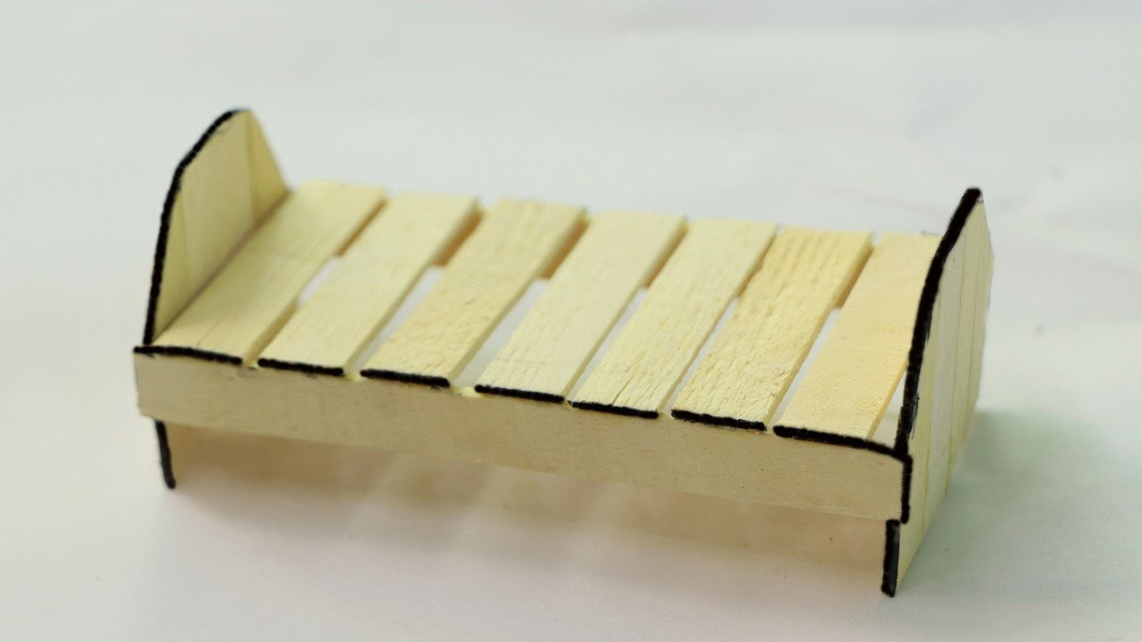 How to make Wooden Doll Bed using Popsicle Stick and Ice Cream Stick
