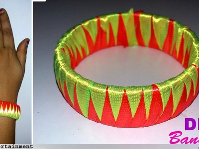 How to make Zigzag SILK RIBBON BANGLE |Easy making bangle with silk ribbon|Omni trends