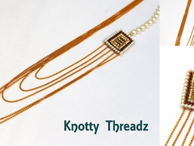 Jewelry | How to make a Simple Chandra Haram at Home | Tutorial | Knotty Threadz
