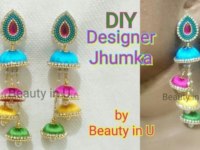 Multi Step Jhumkas   How to make Designer Silk Thread Jhumkas at Home   Silk Thread Earrings
