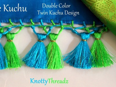 Saree Kuchu | How to make Double Color Twin Kuchu Design at Home | Indian Saree | Tutorial |