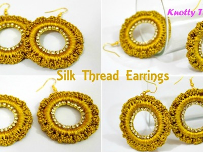 Silk Thread Jewelry | How to make Latest Design Silk Thread Earrings Using Donuts | Tutorial |